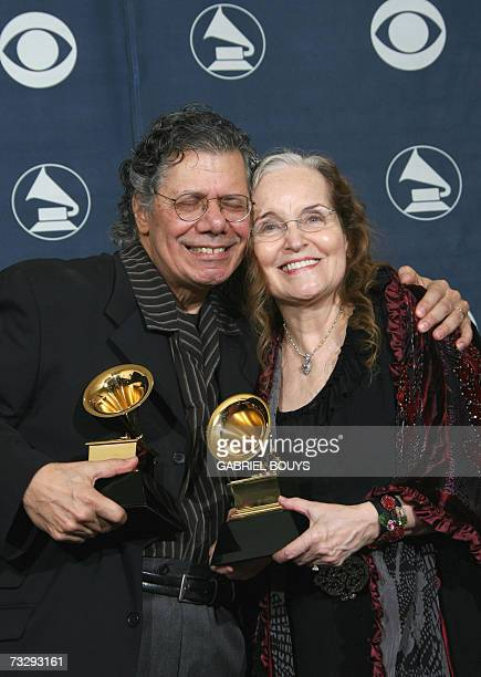 Winner for Best Jazz Instrumental Album Individual or Group and Best Instrumental Arrangement Chick Corea and his wife pose with his trophies at the...