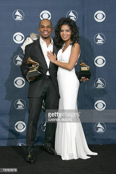 Winner of Best Gospel Song and Best Contemporary RB Gospel Album Kirk Franklin and his wife Tammy Franklin pose with the trophies at the 49th Grammy...