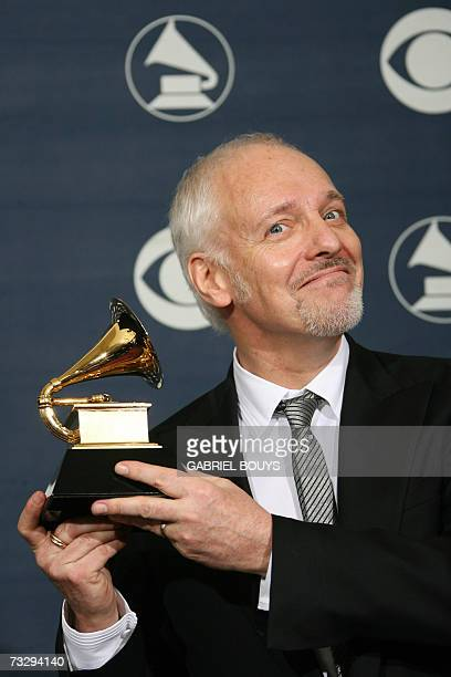 Winner of Best Pop Instrumental Album and Best Rock Instrumental Performance Peter Frampton poses with the trophy at the 49th Annual Grammy Awards in...
