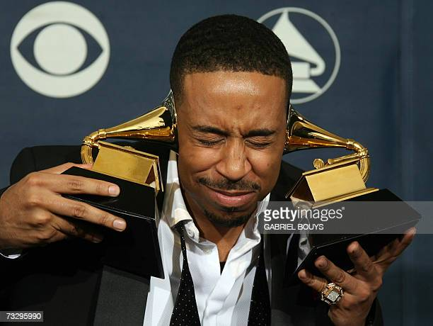 Winner of Best Rap Song and Best Rap Album Ludacris poses with his trophies at the 49th Annual Grammy Awards in Los Angeles 11 February 2007 AFP...