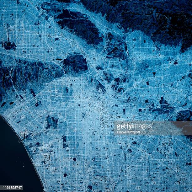 los angeles usa 3d render map blue top view mar 2019 - santa monica los ángeles fotografías e imágenes de stock