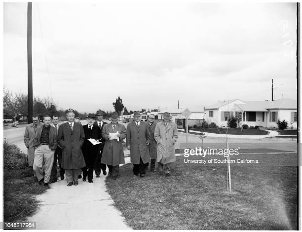 Los Angeles Water and Power proposed condemnation of property in San Fernando Valley Mayor's tour of area 14 March 1952 Mayor Fletcher BowronHarry...