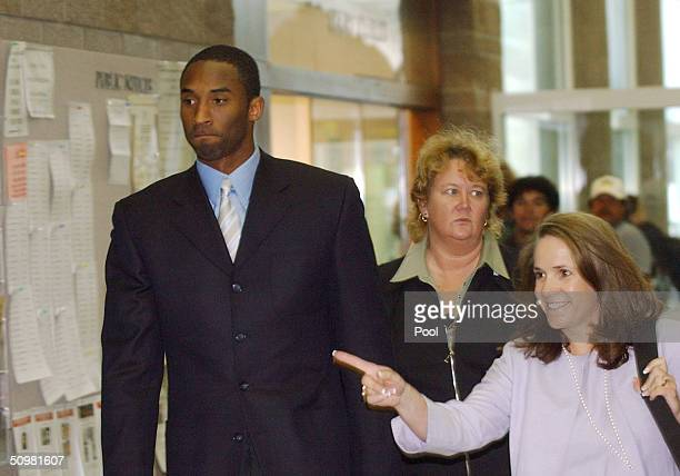 Los Angels Lakers star guard Kobe Bryant arrives with his attorney Pamela Mackey for two days of hearings at the Eagle County Justice Center June 21...