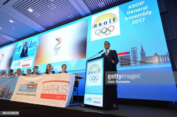Los Angles Mayor Eric Garcetti of the Los Angles 2024 Summer Olympic bid presentation at the ASOIF general Assembly during the third day of...