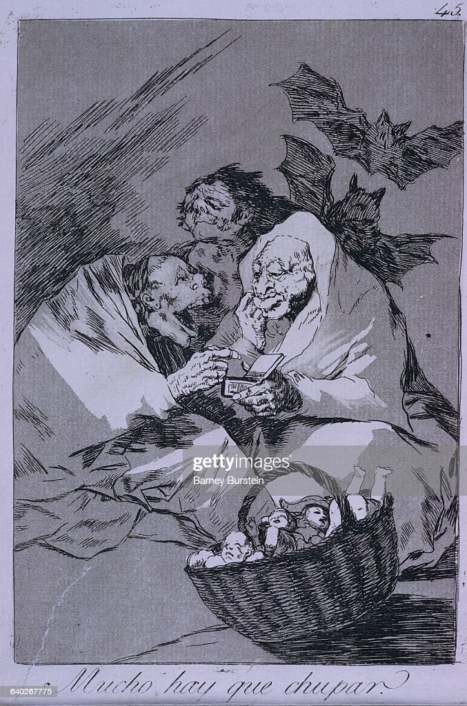 Los Caprichos No. 45: There is plenty to suck by Francisco Goya : News Photo