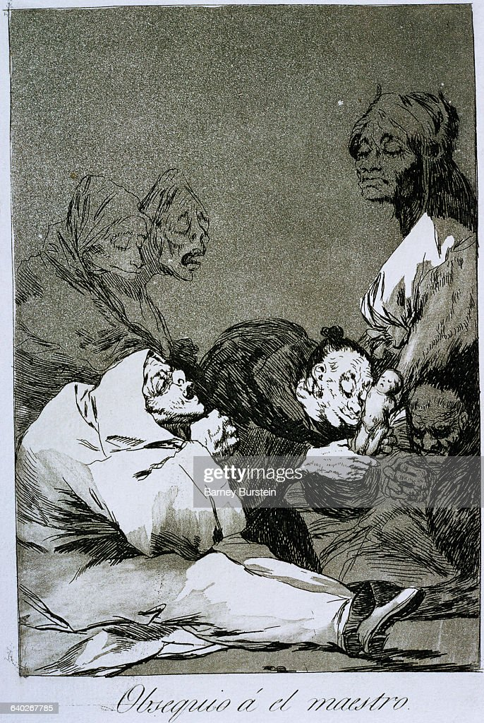 Los Caprichos No. 47: A gift for the master by Francisco Goya : News Photo