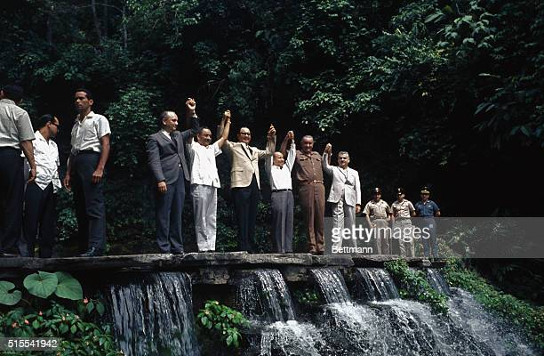 Los Chorros El Salvador President Johnson and the presidents of five Latin American countries involved in the weekend 'little summit' meeting pose on...