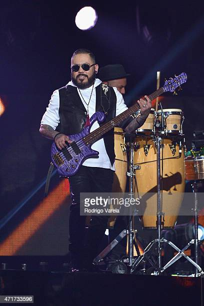 Los Dinos performs musical tribute to Selena while performing with Jennifer Lopez onstage at the 2015 Billboard Latin Music Awards presented bu State...