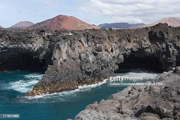 los hervideros, lanzarote, canary islands, tenerife, spain - lanzarote stock pictures, royalty-free photos & images