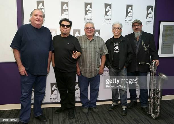 Los Lobos' David Hidalgo Cesar Rosas Conrad Lozano Louie Perez and Steve Berlin attend An Evening With Los Lobos at the GRAMMY Museum on September 27...