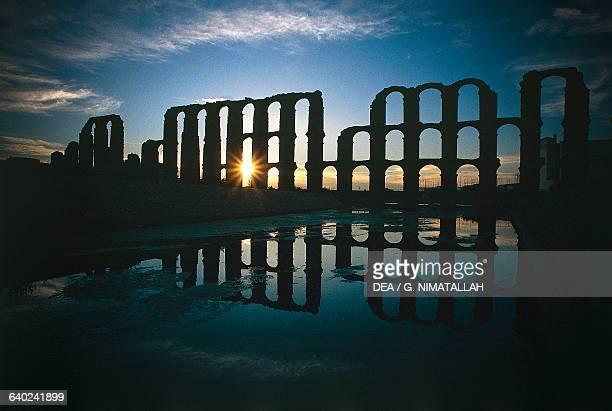 Los Milagros Roman aqueduct at sunset Merida Extremadura Spain Roman civilisation 1st century