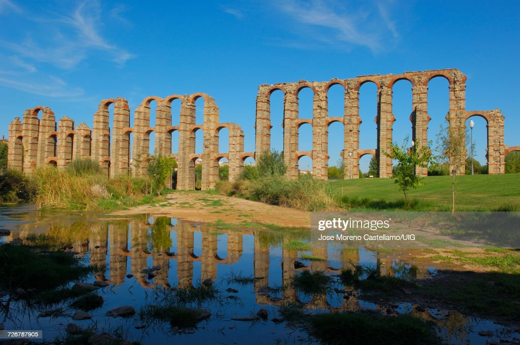 Los Milagros Roman aqueduct, Extremadura, Spain : Stock Photo