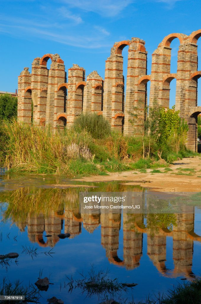 Los Milagros Roman aqueduct, Extremadura, Spain : Stock Photo