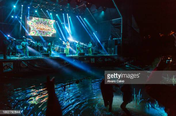 Ruben Blades performs on the floating stage of Festival Pirineos Sur on July 13 2018 in Lanuza Spain