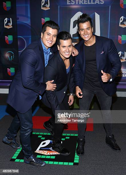 Los Trillizos are seen arriving at Univision's Premios Juventud 2015 at the Bank United Center on July 16 2015 in Miami Florida