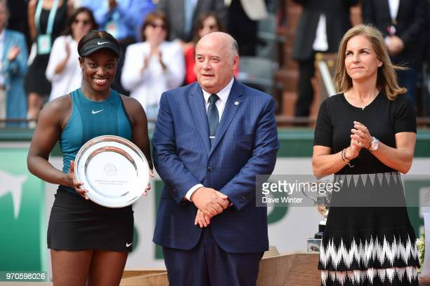 Loser of the Women's Final Sloane Stephens of USA president of the French Tennis Federation Bernard Giudicelli and Arantxa Sanchez Vicario of Spain...