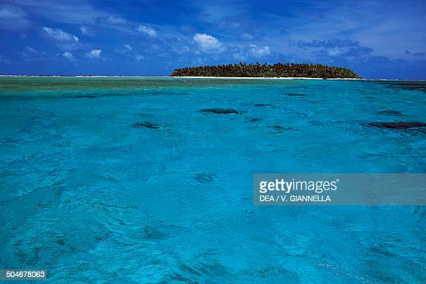 Losiep coral islet from the sea Ulithi Atoll Yap Micronesia