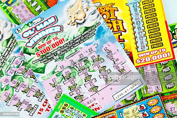 losing lottery scratch-off cards - lottery ticket stock pictures, royalty-free photos & images