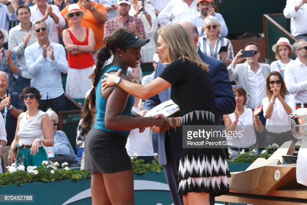 Losing Women Finalist Sloane Stephens and Arantxa Sanchez Vicario stand on the court after the Women Final of the 2018 French Open Day Fourteen at...