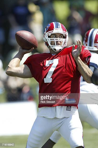 Losman of the Buffalo Bills throws a pass during training camp on August 9 2006 at St John Fisher College in Pittsford New York