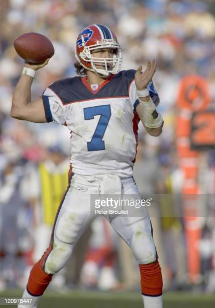 JP Losman quarterback for the Buffalo Bills surveys the field before he passes in a game against the San Diego Chargers at Qualcomm Stadium in San...