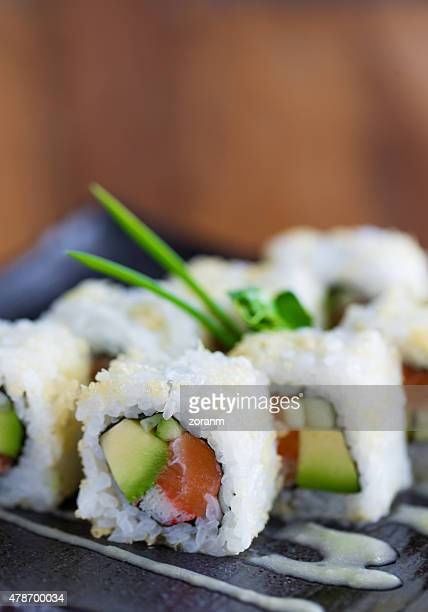 losos sushi - maki sushi stock pictures, royalty-free photos & images