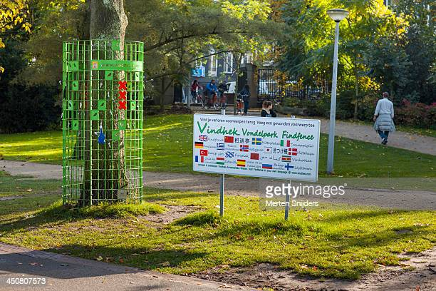 lost and found rack in the vondelpark - merten snijders stock pictures, royalty-free photos & images