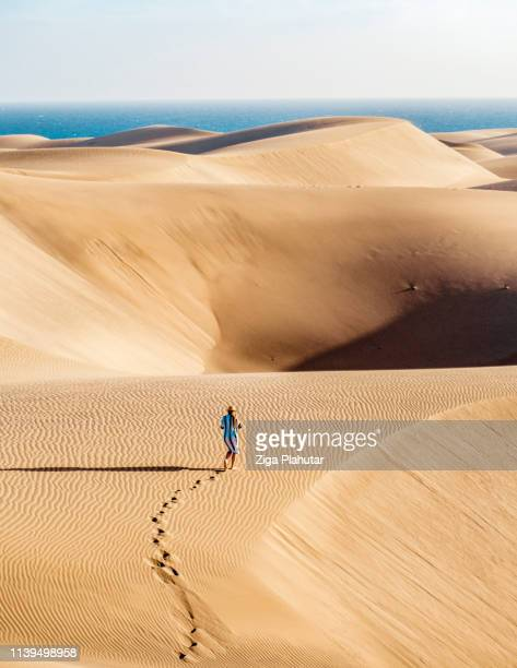 perdido en lo profundo de las dunas de arena en el desierto del sahara - oman fotografías e imágenes de stock