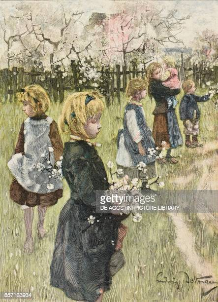 Lost fruits, children collecting branches in bloom in Werder orchards, Germany, illustration by Ludwig Dettmann , woodcut from Moderne Kunst ,...