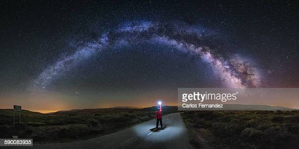 lost highway - milky way stock pictures, royalty-free photos & images