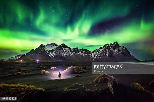 lost in iceland - aurora borealis stock pictures, royalty-free photos & images
