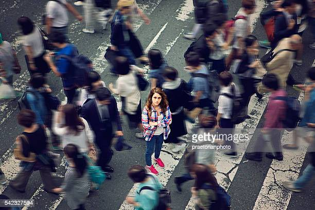 lost in japan - pedestrian zone stock pictures, royalty-free photos & images