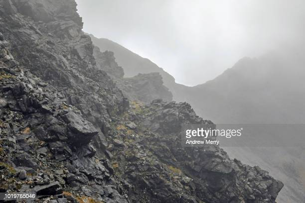 Lost in the cloud point of view, mountain climbing, hiking the Cuillin ridge, Isle of Skye