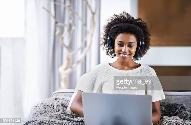 lost in the music while browsing - big hair stock photos and pictures