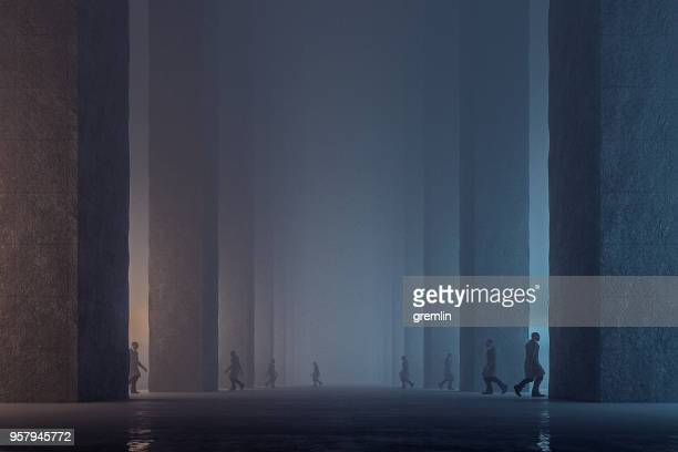 lost men walking in dark foggy futuristic streets - conspiracy stock pictures, royalty-free photos & images