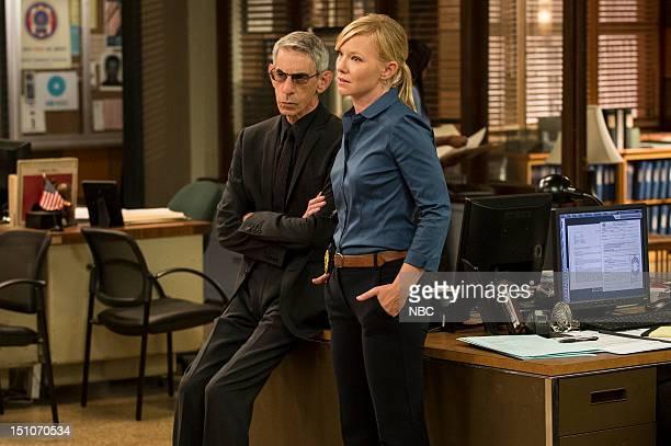 UNIT 'Lost Reputation' Episode 1401 Pictured Richard Belzer as Detective John Munch Kelly Giddish as Detective Amanda Rollins
