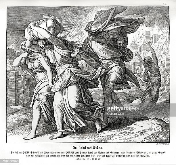 Lot and his family flee from Sodom Genesis chapter XIX verse 2426 'Then the Lord rained upon Sodom and upon Gomorrah brimstone and fire from the Lord...