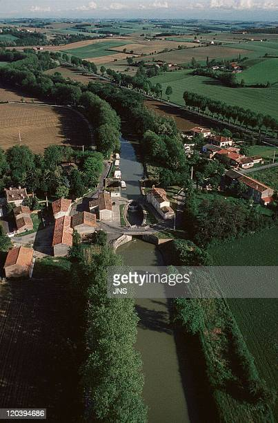 Lot, Canal Du Midi, Lauragais, France - Aerial view. Lock on the Canal.