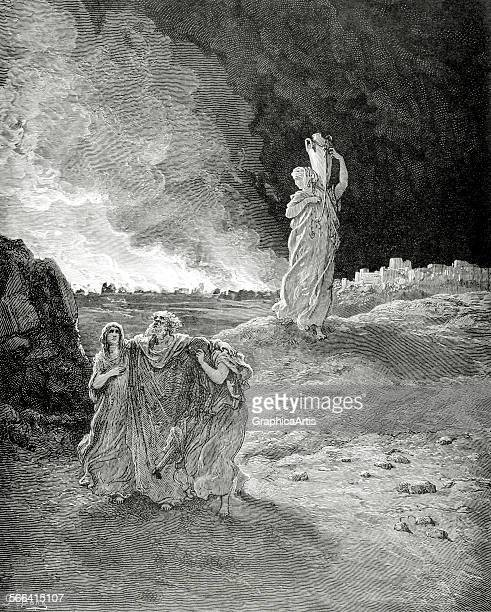 Lot Fleeing Sodom by Gustave Dore engraving 1850