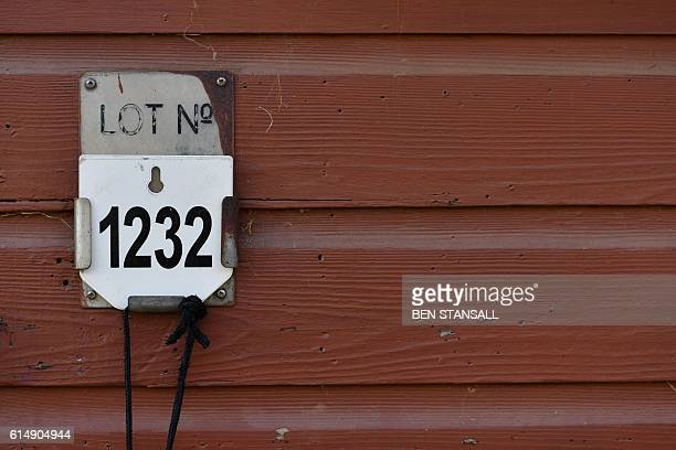 A lot number is seen on a stable door at the Tattersalls Bloodstock Auction in Newmarket north of London on October 11 2016 There may have been much...