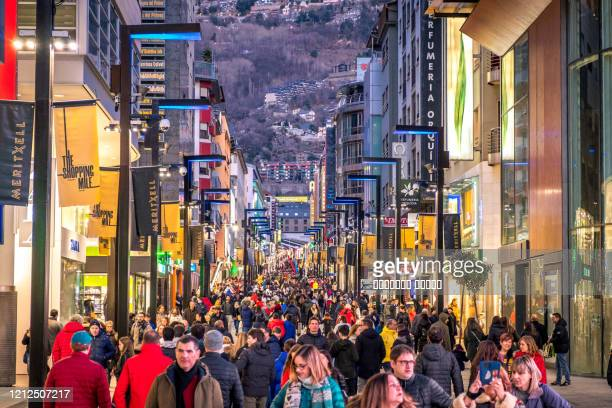 andorra la vella, andorra : february 16 : a lot of people are walking on the street meritxell - andorra stock pictures, royalty-free photos & images