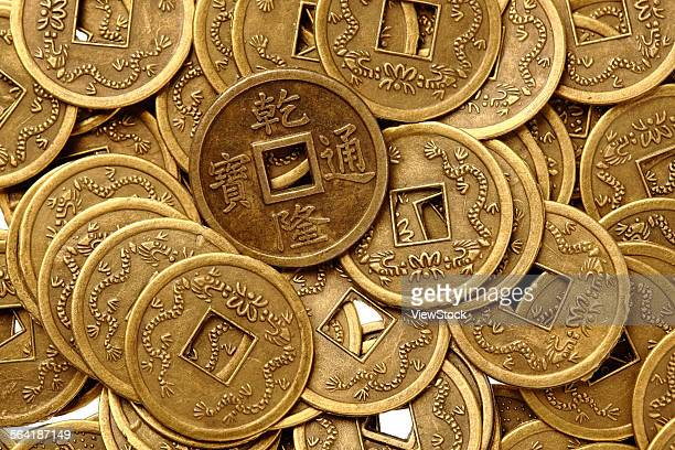 a lot of qing dynasty coins - vintage stock ストックフォトと画像