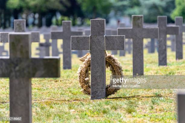 a lot of small, concrete crosses at the german war cemetery in the netherlands. - national landmark stock pictures, royalty-free photos & images
