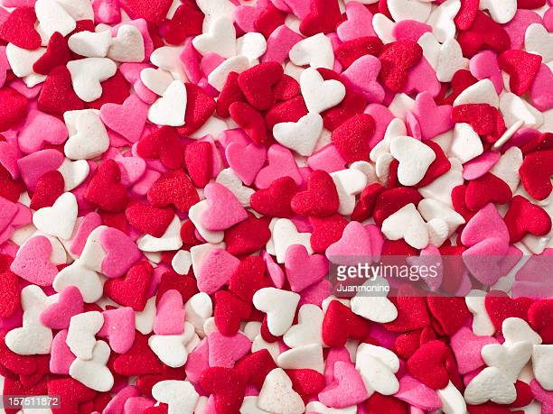 lot of sprinkle hearts - valentine card stock photos and pictures