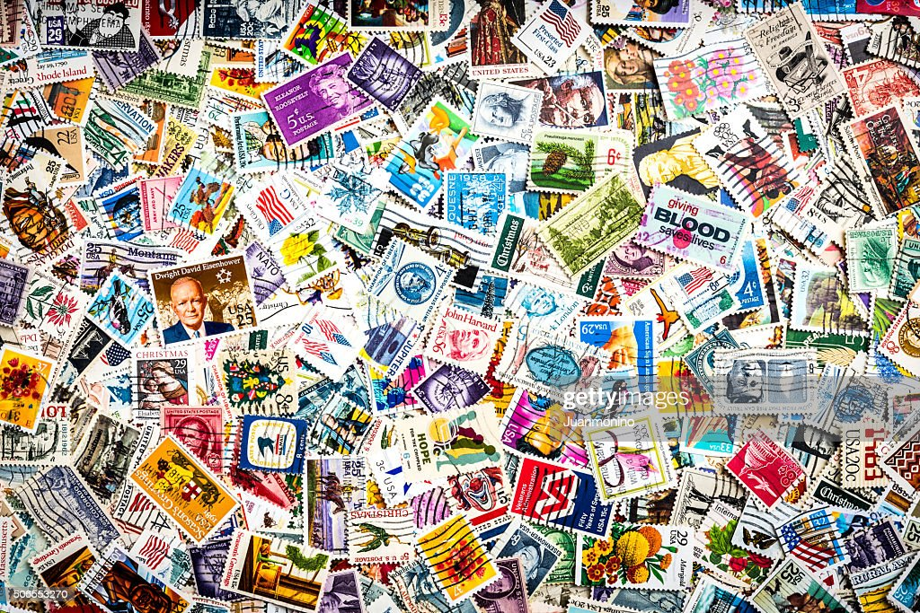 Lot of US Stamps : Stock Photo