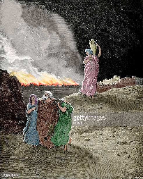 Lot person mentioned in Book of Genesis Bible Episode of destruction of Sodom and Gomorrah Lot flees from Sodom Engraving by H Pisan and drawing by...