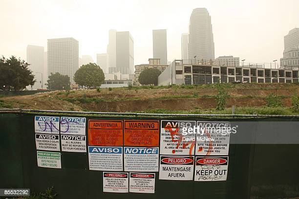 A lot prepared for construction of an apartment complex is idle on March 20 2009 in Los Angeles California Billions of dollars of downtown Los...