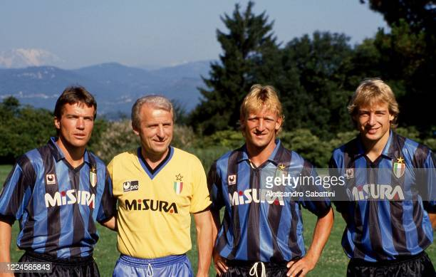 Lotar Matthaus, Giovanni Trapattoni head coach, Andreas Brehme and Jurgen Klinsmann of FC Internazionale pose for photo during the Serie A 1989-90,...