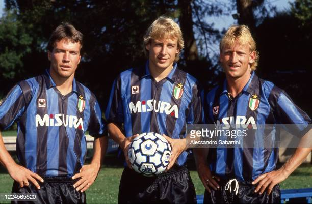 Lotar Matthaus, Jurgen Klinsmann and Andreas Brehme of FC Internazionale pose for photo during the Serie A 1989-90, Italy.