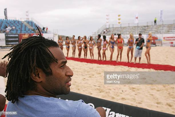 Lote Tuqiri judges a bikini competition during the Harvey Norman Beach Footy event at Maroubra Beach on December 16, 2006 in Sydney, Australia. The...